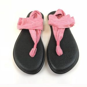 Sanuk Slingback Sandals Shoes Yoga Size 7 Black